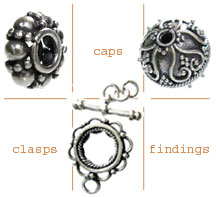 spacers, caps, beads, clasps, toggles and findings
